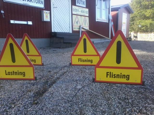 Flyttbara skyltar Lastning och Flisning