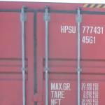 """Här visar vi en sjöcontainer med utanpåliggande spanjoletter för stängning. Tänk på att du behöver distanser till låsbommen 50 eller 65 mm för att bygga ut för """"stagen du ser på bilden"""""""
