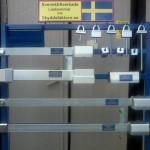 Här är ett av våra visningsställ vi har på mässor mm. Visar olika låsbommar