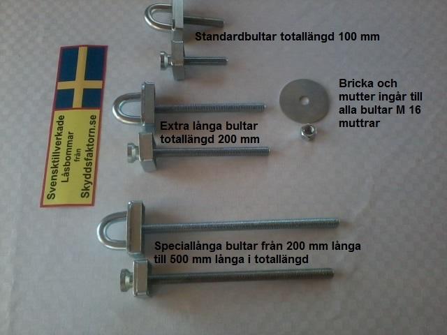 Tillbehör låsbommar. låsbyglar olika längder med beskrivning